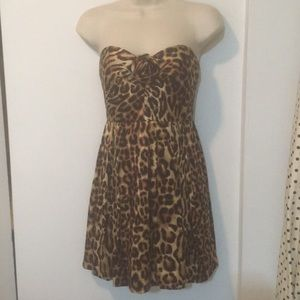ABS Animal Print Silk Cocktail Party Dress
